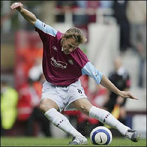 Teddy Sheringham scores the opening goal of the game