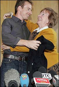 Rory Carroll hugs his mother