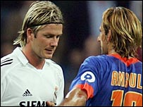 Beckham was shown a second yellow card for mocking the referee