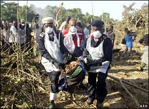 Rescue workers carry the remains of victims