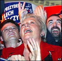 Supporters of Lech Kaczynski cheer as exit polls are announced