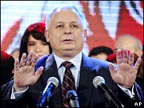 Lech Kaczynski speaks as the exit polls are announced