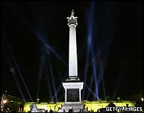 Nelson's column lit up in Trafalgar Square