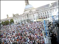 Big screen at Cardiff City Hall