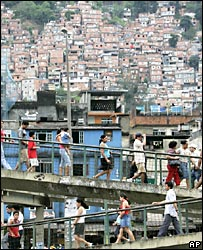 Voters descend from the Rocinha shantytown in Rio de Janeiro