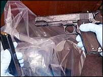 Police handout image of a weapon used by the gunmen who murdered teenage friends Letisha Shakespeare, 17, and Charlene Ellis, 18, in Birmingham on January 2 2003
