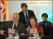 Margaret Beckett and officials at the Derby meeting (PA)