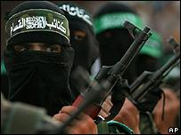 Hamas militant at rally