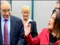 Michael Howard being confronted by Sharon McMillan