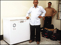 A solar fridge supplied to Bangladesh by Dulas