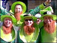 Irish fans dressed as leprechauns