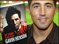 Gavin Henson displays his book at the official launch