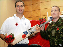 Michael Vaughan and Lance Corporal David Hart