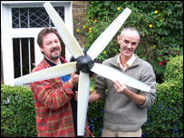 Peter Anderson from Eclectic Energy and Donnachadh McCarthy with the domestic wind turbine