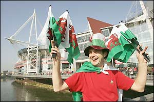A happy Welsh fan arrives at the Millennium Stadium