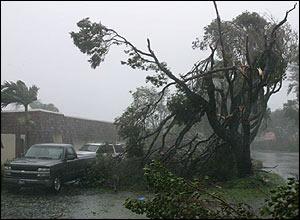 Hurricane Wilma passing through Miami.