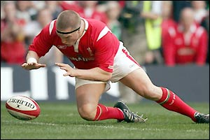 Gethin Jenkins pounces to score the opening try