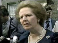 Margaret Thatcher habla con la BBC despu�s de la tragedia de Heysel.