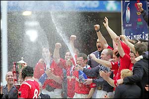 Wales players shower their captain with champagne