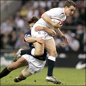 Hugo Southwell tackles Olly Barkley