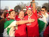 Wales fans celebrating