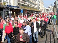 Fans in Wood Street, Cardiff
