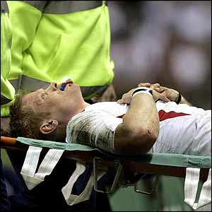 Iain Balshaw is stretchered off