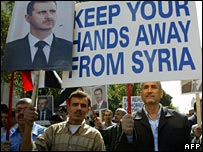 Syrians at a pro-government demonstration