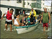 Residents in Havana being rescued