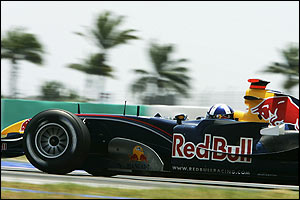 David Coulthard in action in Sepang