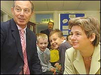 Tony Blair and Ruth Kelly meeting pupils at St Bartholomew's School in Brighton