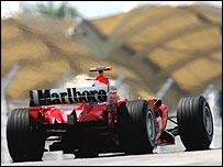 Ferrari's Michael Schumacher struggles in Malaysia