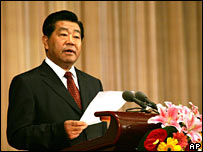 Jia Qinglin speaks at an anniversary celebration gathering in the Great Hall of the People, Beijing