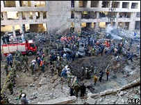 Site of the bomb blast in Beirut, Lebanon, that killed Rafik Hariri