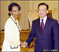 Condoleezza Rice and Wen Jiabao