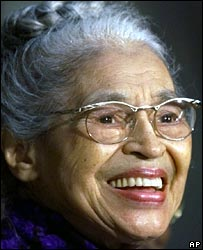 File photograph of Rosa Parks in 1999