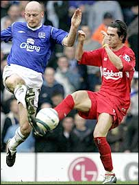 Everton's Lee Carsley (left) and Liverpool midfielder Luis Garcia battle for possession
