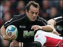 Thomas Castaignede in action for Saracens in their Heineken Cup win against Biarritz