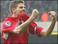 Steven Gerrard celebrates scoring Liverpool's opener in the Merseyside derby against Everton at Anfield