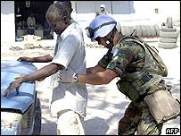 Argentine peacekeeper in Haiti