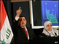 Election official Farid Ayar announcing the results