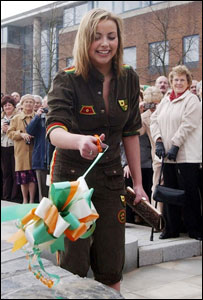 Charlotte Church at the opening of a memorial garden in Cardiff