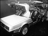 DeLorean in his namesake car