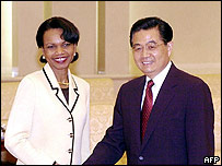 US Secretary of State Condoleezza Rice and Chinese President Hu Jintao