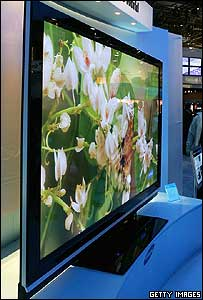 Very large flat panelled TV display