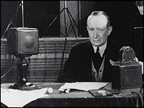 Guglielmo Marconi broadcasts to the US from Rome in 1934