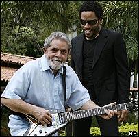 Lenny Kravitz and Brazilian president Luiz Inacio Lula da Silva