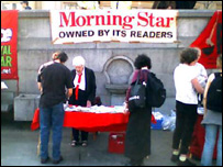 Morning Star stall at Trafalgar Square on Saturday
