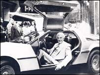 John DeLorean in his car