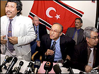 Members of Gam hold a short presser after ending the second negotiations with President Ahtisaari's office CMI and the representatives of Indonesian government in Helsinki, Finland 23 February 2005